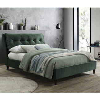 An Image of Megan Velvet Upholstered Double Bed In Green