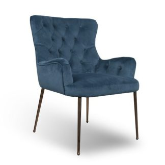 An Image of Ormond Accent Chair In Brushed Velvet Caribbean Blue