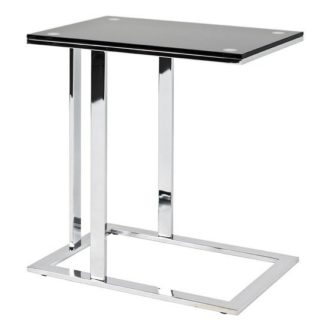 An Image of Declan Glass Side Table In Black With Chrome Base