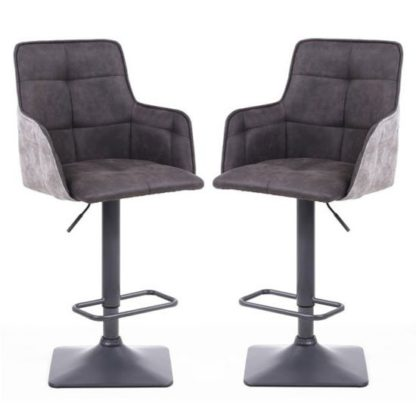 An Image of Orion Dark Grey Suede Effect Bar Stool In Pair With Metal Base