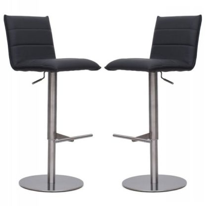 An Image of Verlo Bar Stools In Grey Faux Leather In A Pair