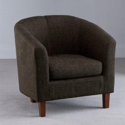 An Image of Oxford Dark Brown Fabric Tub Chair