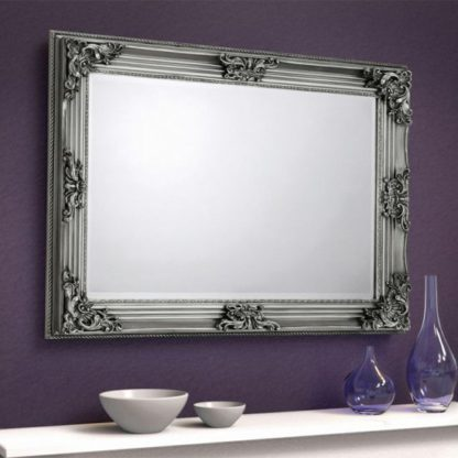 An Image of Rococo Wall Bedroom Mirror In Pewter