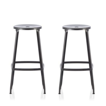 An Image of Bryson 76cm Metal Bar Stools In GunMetal In A Pair