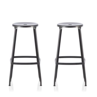 An Image of Bryson 66cm Metal Bar Stools In GunMetal In A Pair