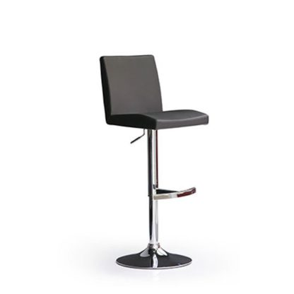 An Image of Lopes Black Bar Stool In Faux Leather With Round Chrome Base