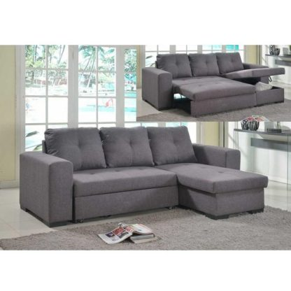 An Image of Avalon Modern Corner Sofa Bed In Grey Linen With Storage