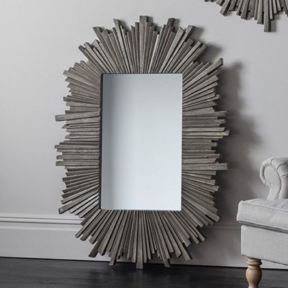 An Image of Corsley Starburst Wall Mirror Rectangular In Grey Weathered