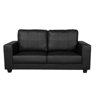 An Image of Queensland 3 Seater Sofa In Black Faux Leather