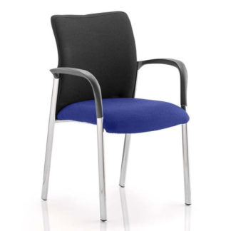 An Image of Academy Black Back Visitor Chair In Stevia Blue With Arms