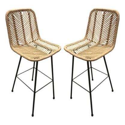 An Image of Rafferty Wooden Bar Stool In Pair