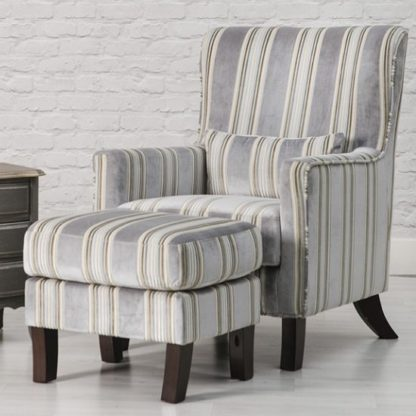 An Image of Humphrey Fabric Accent Chair And Footstool In Grey
