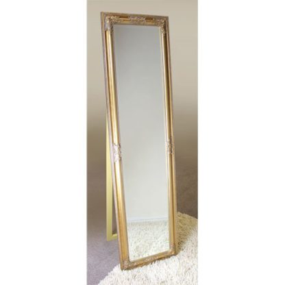 An Image of Rocco Cheval Floral Gold Frame Freestanding Mirror