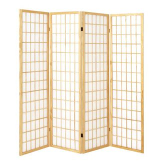 An Image of Wooden 4 Panel Folding Room Divider In Natural
