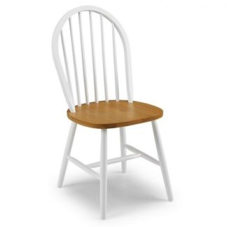 An Image of Beecher Wooden Dining Chair In White And Oak Lacquered