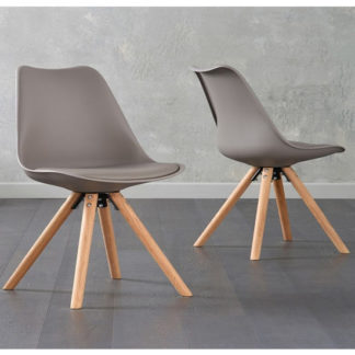 An Image of Tupa Taupe Faux Leather Chairs In Pair With Round Leg