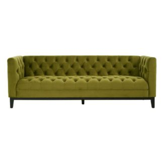 An Image of Okab Viola Moss Fabric 3 Seater Sofa In Green