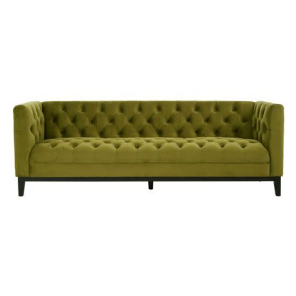 An Image of Okab Viola Moss Fabric 3 Seater Sofa In Green