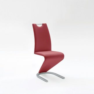 An Image of Amado Dining Chair In Bordeaux Faux Leather With Chrome Base
