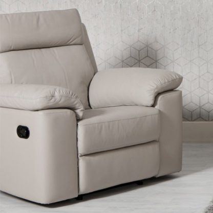 An Image of Enzo Faux Leather Recliner Armchair In Putty