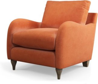 An Image of Custom MADE Sofia Armchair, Plush Coral Velvet with Light Wood Leg