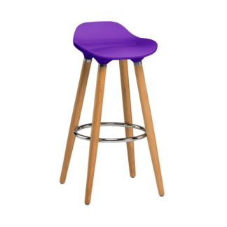 An Image of Adoni Bar Stool In Purple ABS With Natural Beech Wooden Legs