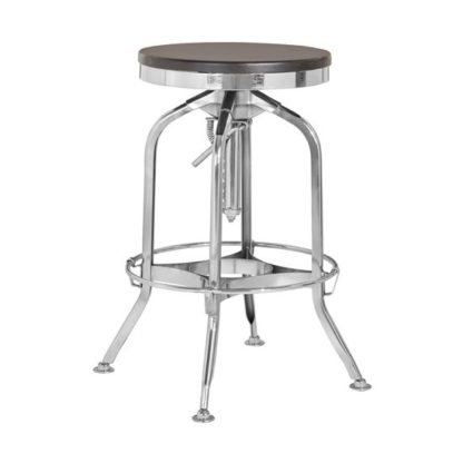 An Image of Diwo Silver Chromed Metallic Bar Stool With Wooden Seat In Ash
