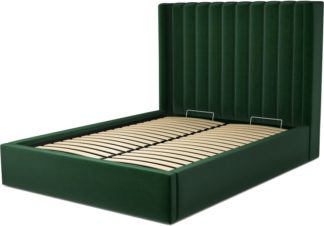 An Image of Custom MADE Cory Double size Bed with Ottoman, Bottle Green Velvet