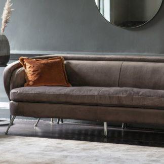An Image of Tesoro Velvet 3 Seater Sofa In Dark Taupe