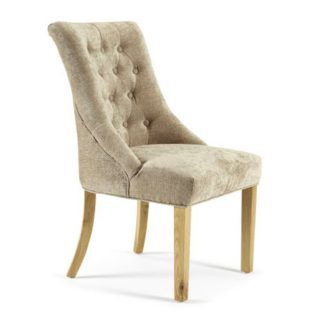 An Image of Milena Dining Chair In Mink Fabric With Oak Legs in A Pair