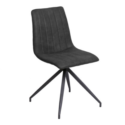 An Image of Isaac Faux Leather Dining Chair In Charcoal