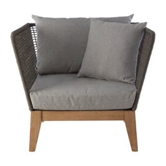 An Image of Borea Grey Armchair With Wooden Legs