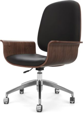 An Image of Saul Office Chair, Walnut and Black