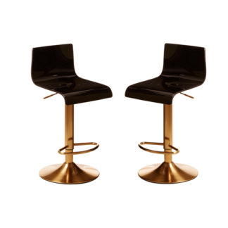 An Image of Baino Black Acrylic Seat Bar Stool With Gold Base In Pair