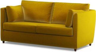 An Image of Custom MADE Milner Sofa Bed with Foam Mattress, Saffron Yellow Velvet