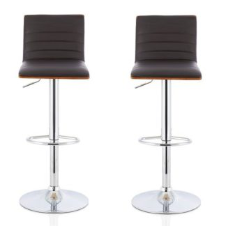 An Image of Morsun Bar Stools In Walnut And Brown PU In A Pair