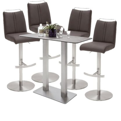 An Image of Soho Glass Bar Table With 4 Giulia Brown Leather Stools