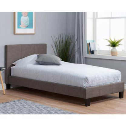 An Image of Berlin Fabric Small Double Bed In Grey