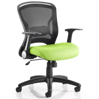 An Image of Mendes Contemporary Office Chair In Green With Castors