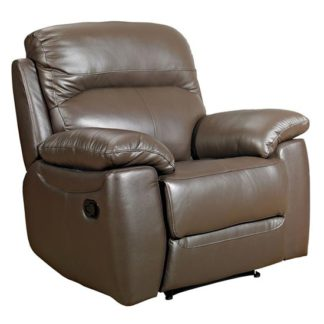 An Image of Aston Leather Recliner Sofa Chair In Brown