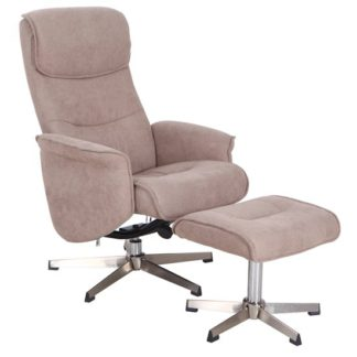 An Image of Rayna Recliner Chair With Footstool In Sand