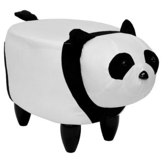 An Image of Panda Shaped Pouffe In White And Black Finish