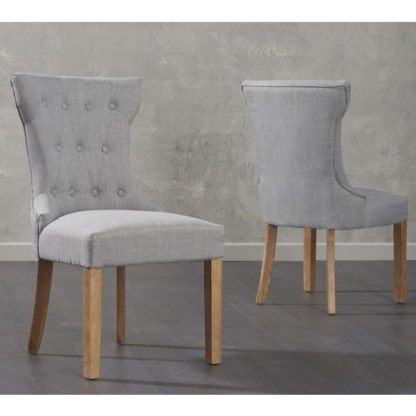 An Image of Absolutno Grey Fabric Dining Chairs In Pair