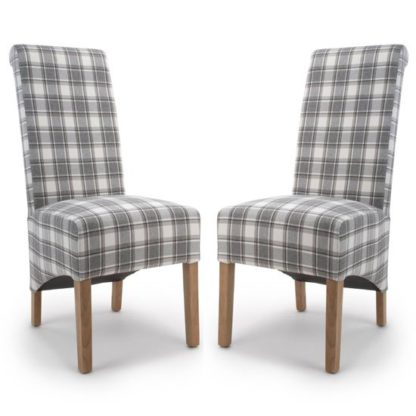 An Image of Krista Cappuccino Herringbone Check Dining Chair In A Pair
