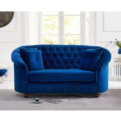 An Image of Astoria Chesterfield 2 Seater Sofa In Blue Plush Fabric