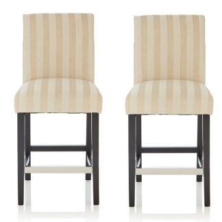 An Image of Alden Bar Stools In Cream Fabric And Black Legs In A Pair