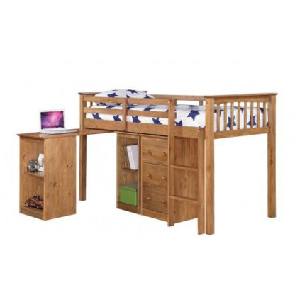 An Image of Milli Antique Wax Pine Finish Sleep Station With Pull Out Desk