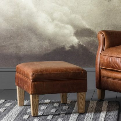 An Image of Mr. Paddington Foot Stool In Vintage Brown Leather