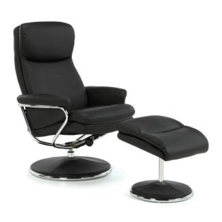 An Image of Berkeley Swivel Recliner Chair In Black Faux Leather