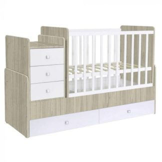 An Image of Braize Children Cot Bed In Elm And White With Storage